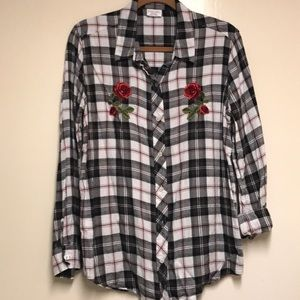 Empyre Plaid Button Down W/ Embroidered Flowers